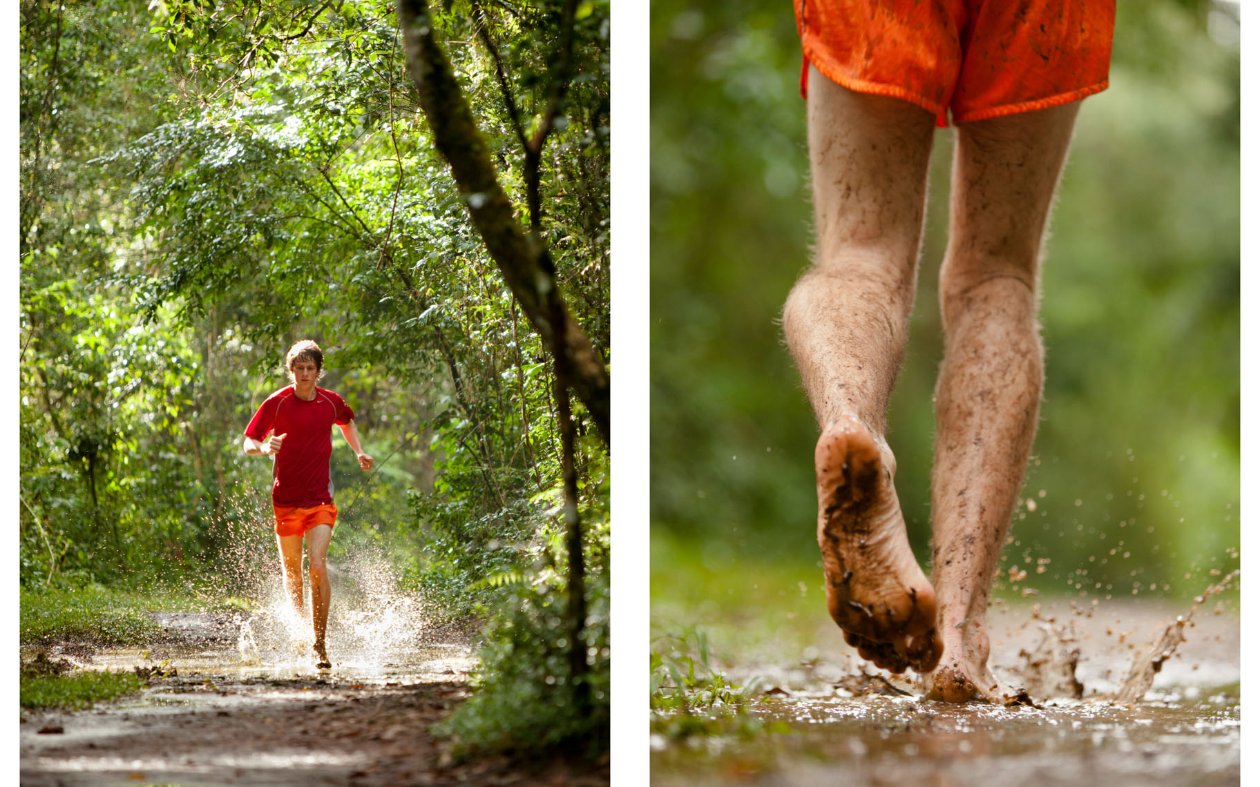 Adventure and outdoor lifestyle photogaph by Forest Woodward running barefoot on muddy trails in Brazil