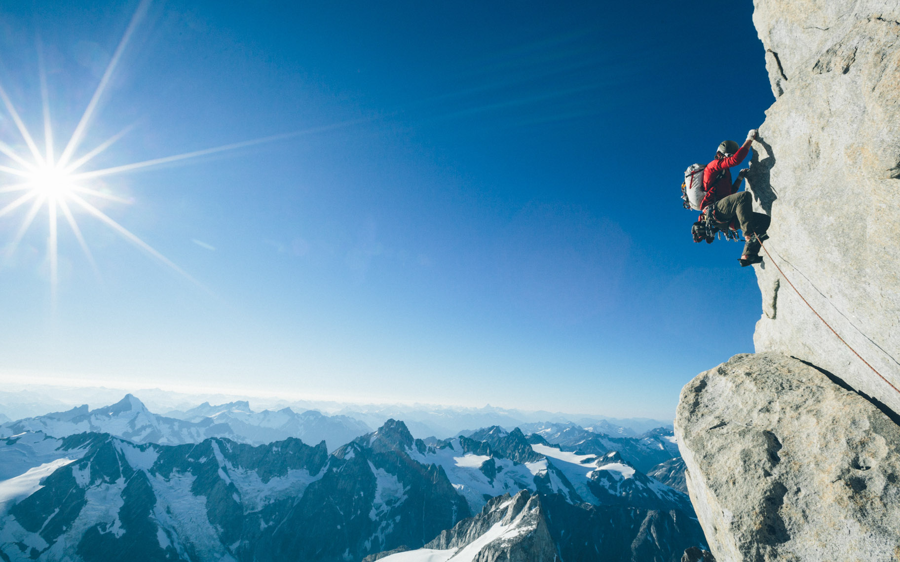Rock climbing and climber photgraphs by Forest Woodward in the Waddington Range of British Columbia Canada high alpine