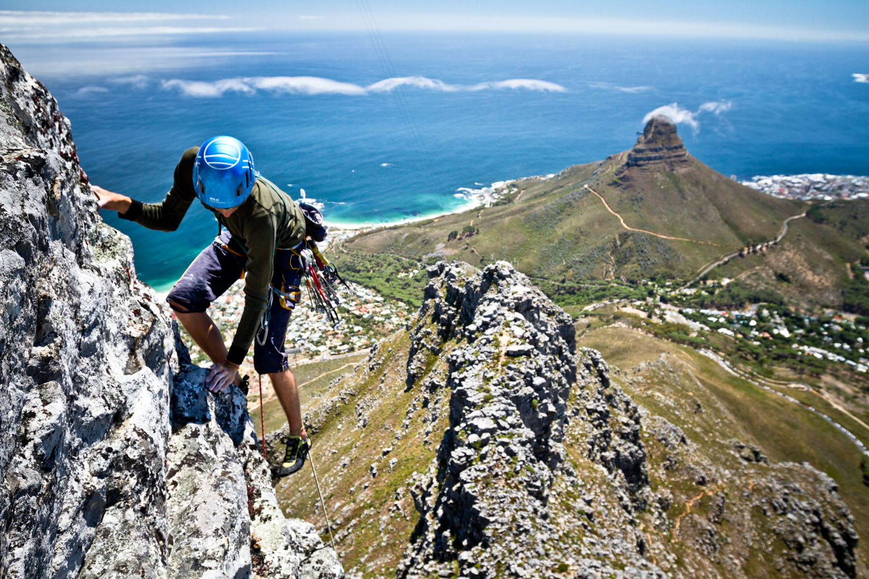Richard rock climbing above Cape Town South Africa