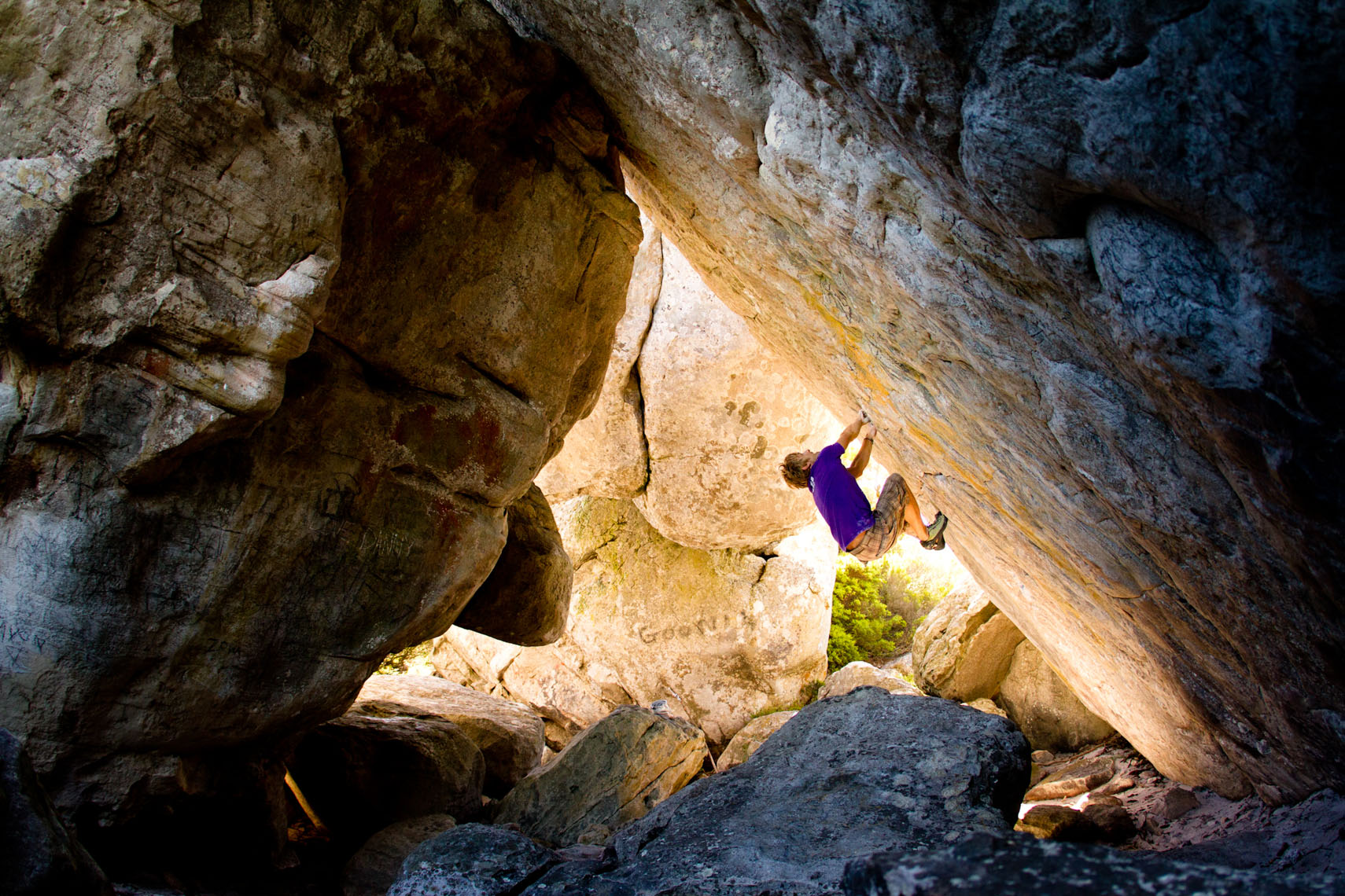 Marijus Smigelskies rock climbing near Cape Town South Africa photographed by Forest Woodward