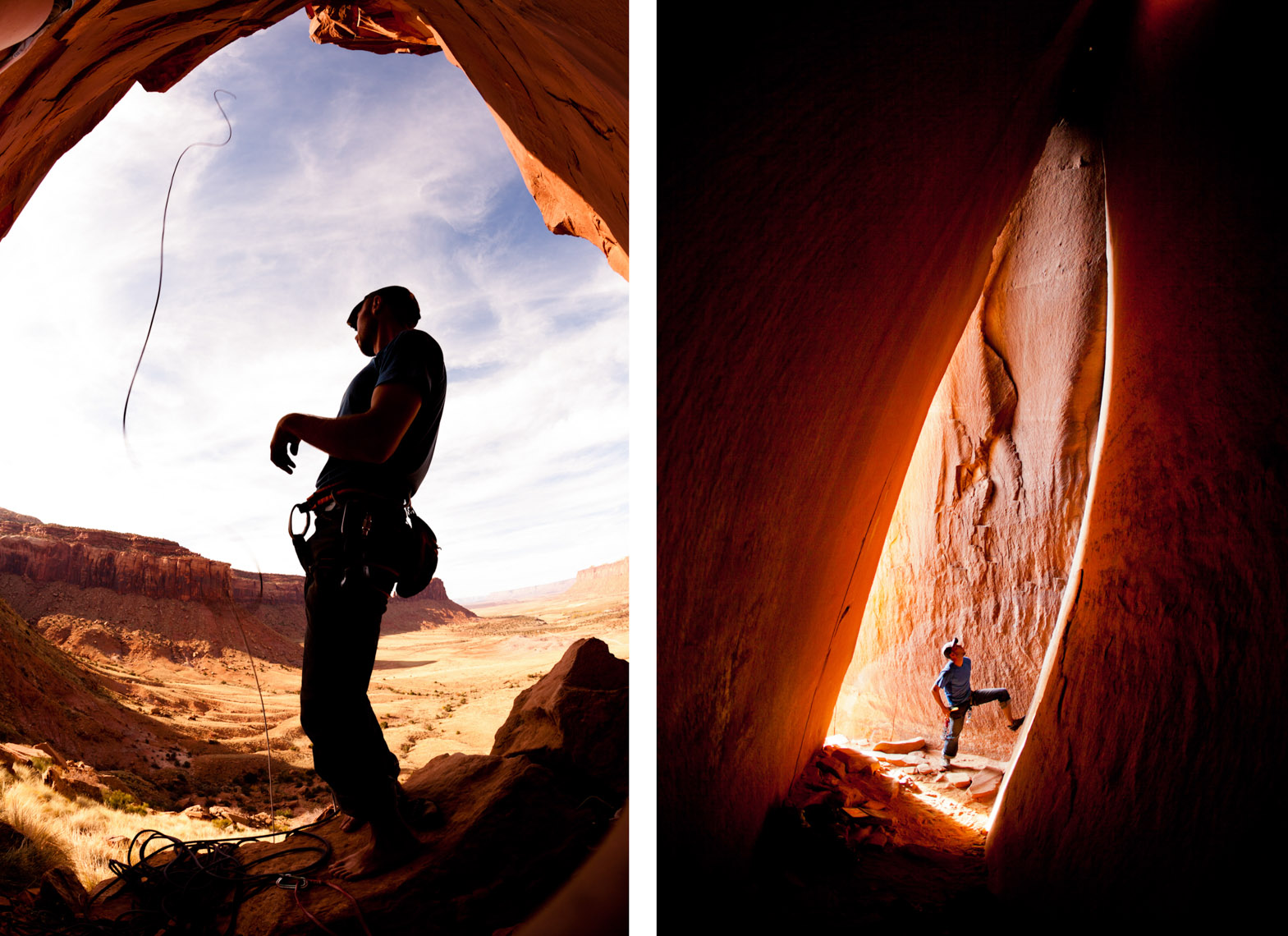 Blake Herrington rock climbing in Indian Creek, Utah photographed by Forest Woodward