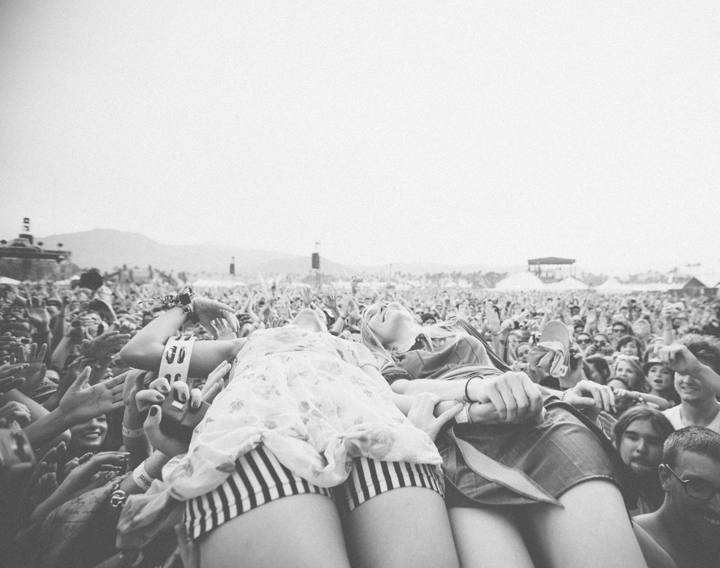 Edward Sharpe and the Magnetic Zeros Jade Crowdsurfing at Coachella music festival