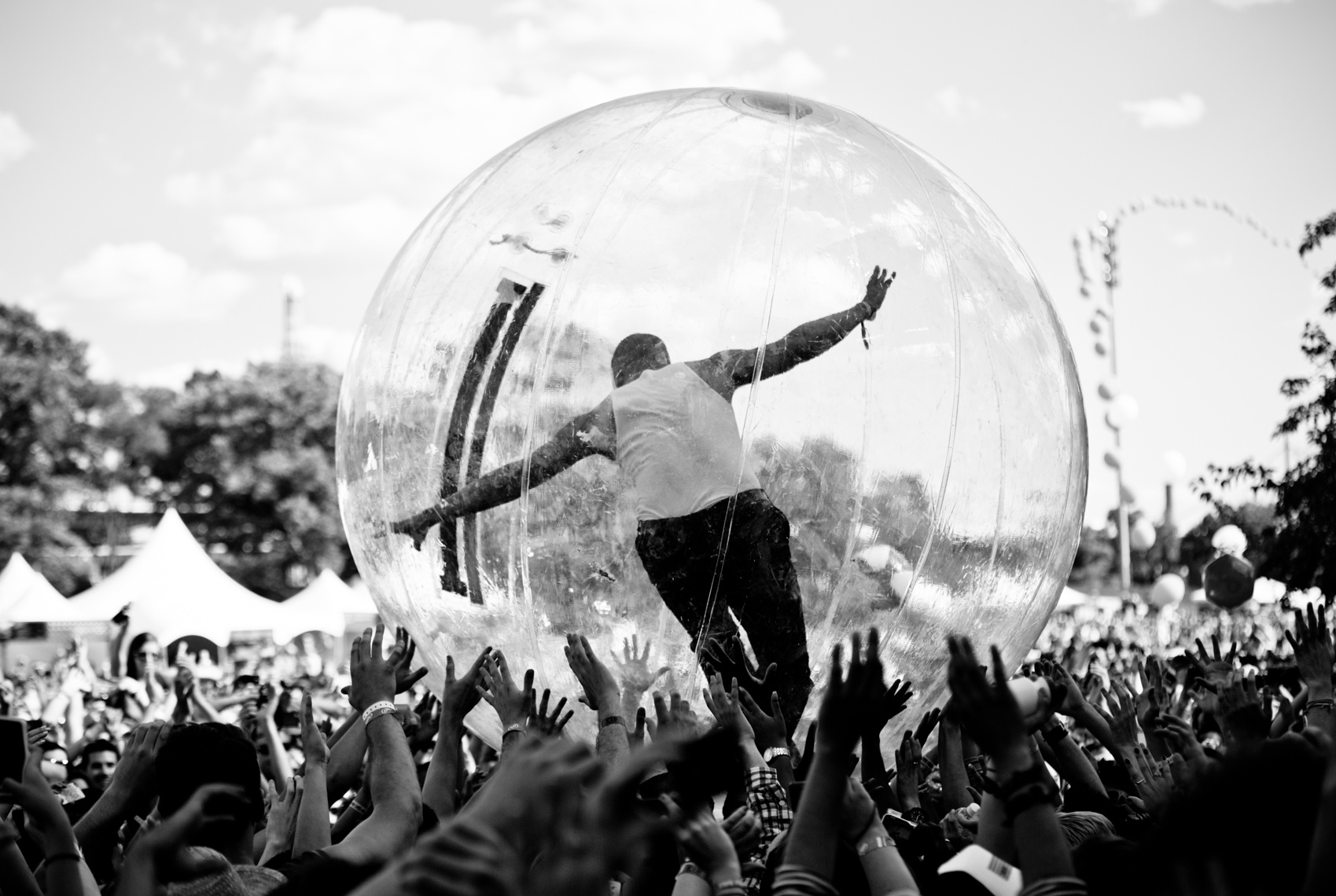 Major Lazer crowdsurfing at Governors Ball Music Festival